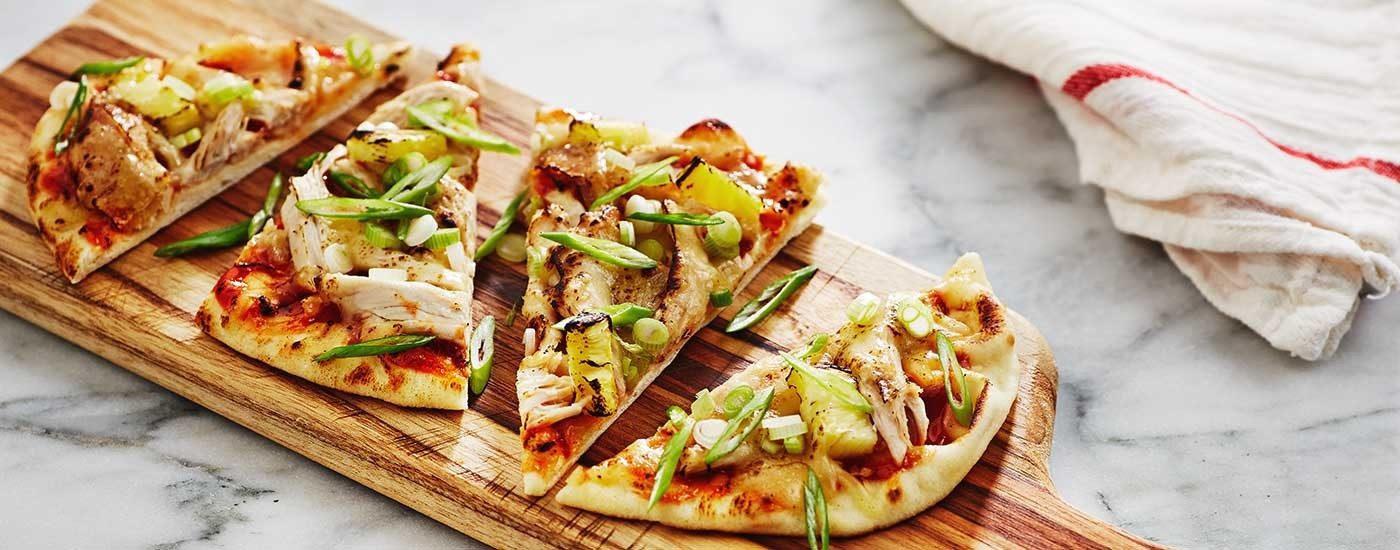 Hawaiian Flatbread Pizza with Girards hawaiian luau plum bbq sauce