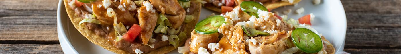 Chicken tostadas with Girard's Southwest poblano sauté sauce
