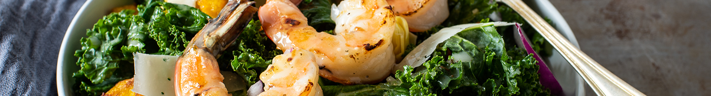 Harvest shrimp and kale salad with Girard's lemon garlic herb sauce